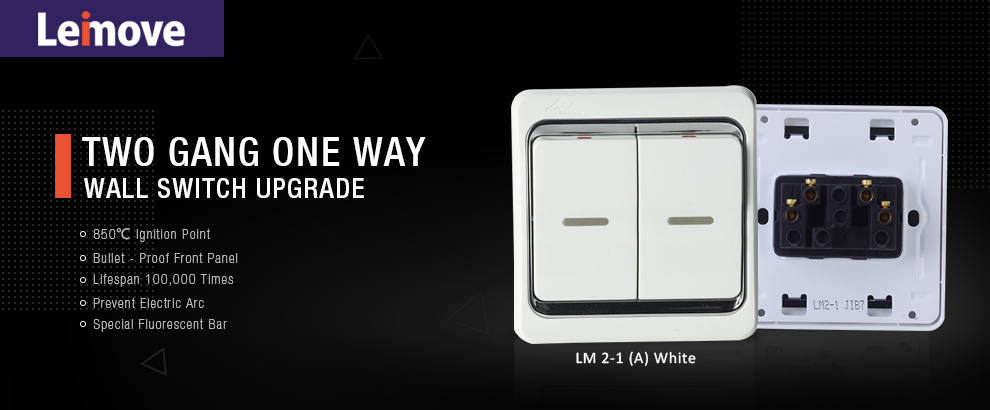 Leimove-Three Year Warrant 13a 2 Gang 1 Way Switch | Leimove Lighting