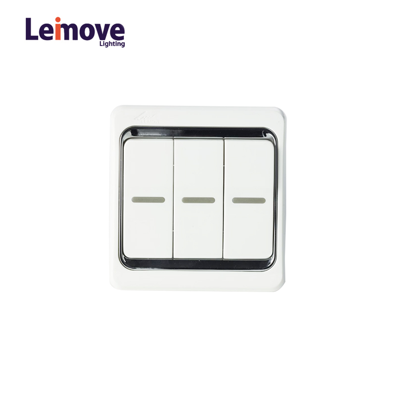 Leimove 10A Three Gang 2 Way Electrician Wall Switch Ling Xuan White Series image40