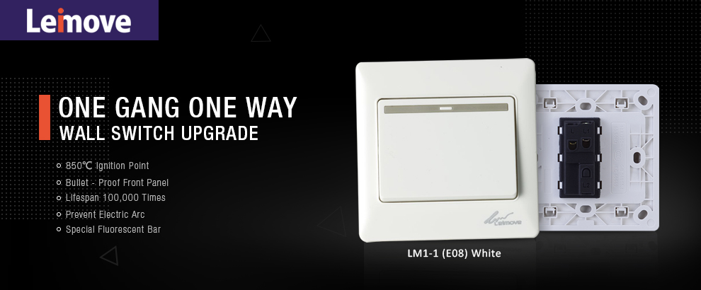 Leimove-General 10A 250V 1 Gang 1 Way PC Wall Switch | Leimove Lighting