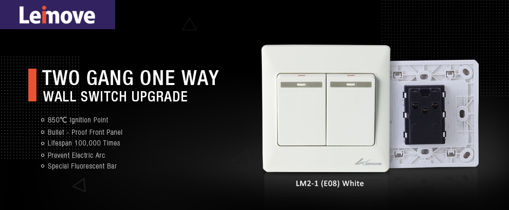 Leimove-10a Two Gang One Way Switch White | Leimove Ling Tong Series