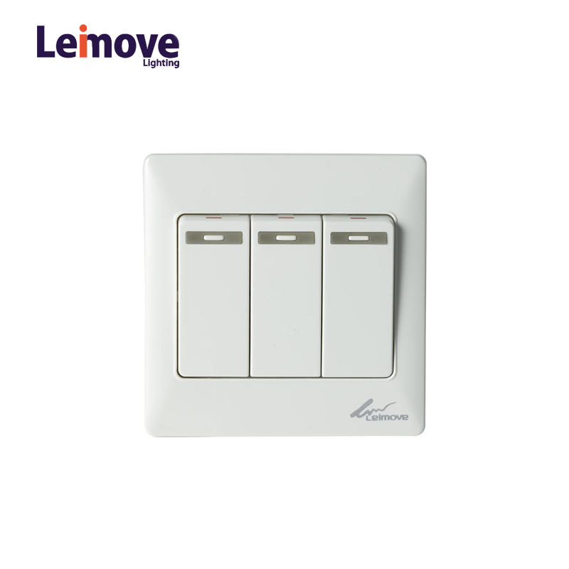 Electric Home 10A 100-250V 3 Gang One Way Wall Switch 86*86