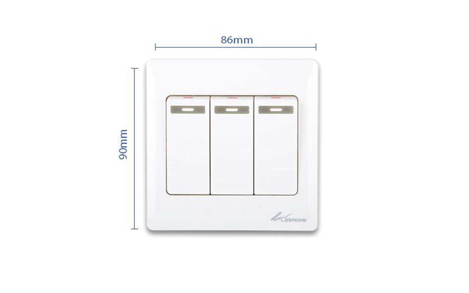 Leimove-Electric Home 3 Gang One Way Wall Switch | Leimove-5