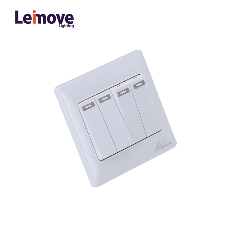 Leimove 10A 110V 4 Gang 1 Way electrical Wall Switch 86*86 Ling Tong Series image2