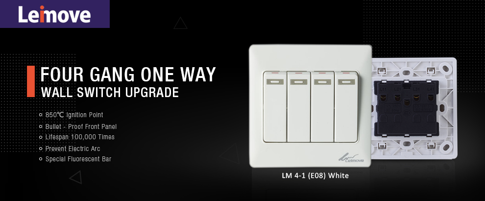 Leimove-High-quality 4 Gang 1 Way Electrical Wall Switch | Leimove