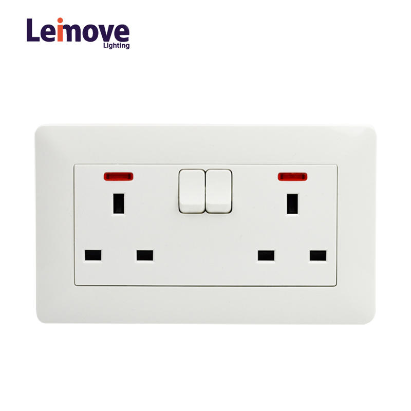 Light Double Gang Electric Waterproof Switcher Wall Socket