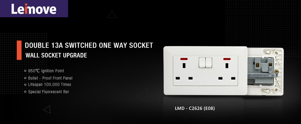Leimove-Light Double Gang Electric Waterproof Switcher Wall Socket | Leimove