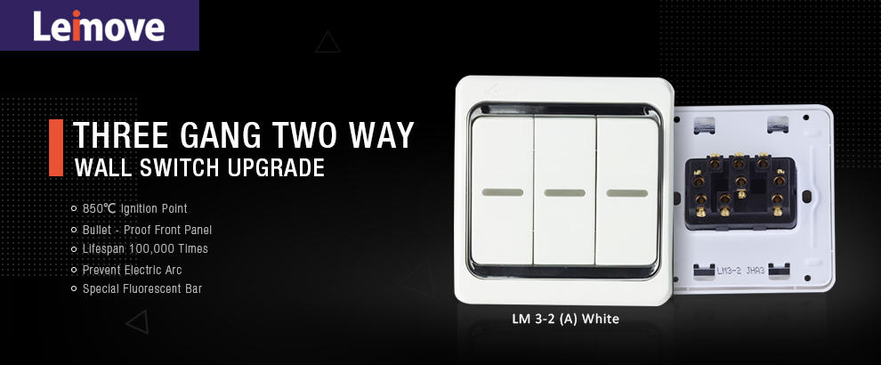 Leimove-10a Three Gang 2 Way Electrician Wall Switch | Electrical Switches For