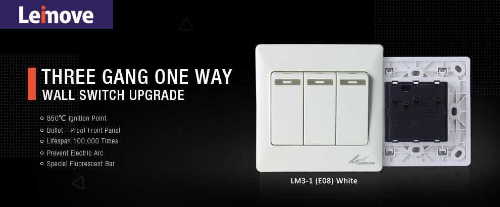 Leimove-High-quality Electric Home 10a 100-250v 3 Gang One Way Wall Switch 8686