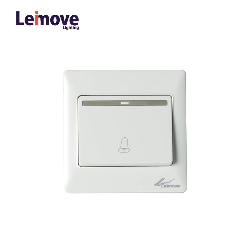 10A 250V One Way White Door Bell Wall Switch 86*86