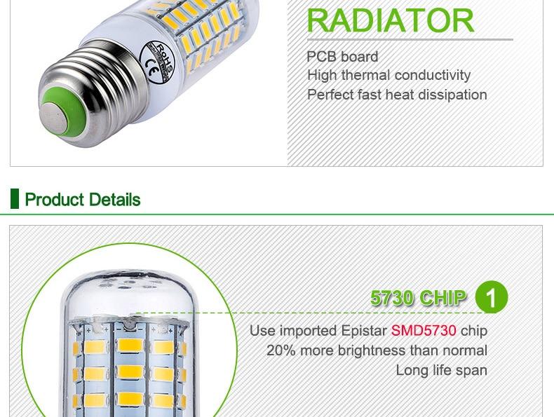 E27 LED Lamp E14 LED Bulb SMD5730 220V Corn Bulb 24 36 48 56 69 72LEDs Chandelier Candle LED Light For Home Decoration Ampoule-5