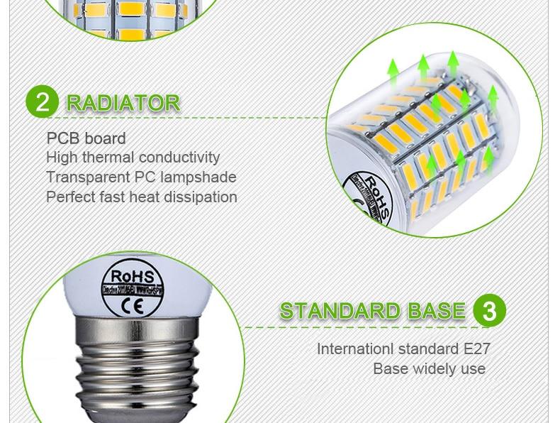 E27 LED Lamp E14 LED Bulb SMD5730 220V Corn Bulb 24 36 48 56 69 72LEDs Chandelier Candle LED Light For Home Decoration Ampoule-6