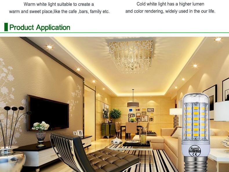 E27 LED Lamp E14 LED Bulb SMD5730 220V Corn Bulb 24 36 48 56 69 72LEDs Chandelier Candle LED Light For Home Decoration Ampoule-8