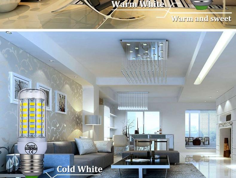 E27 LED Lamp E14 LED Bulb SMD5730 220V Corn Bulb 24 36 48 56 69 72LEDs Chandelier Candle LED Light For Home Decoration Ampoule-9