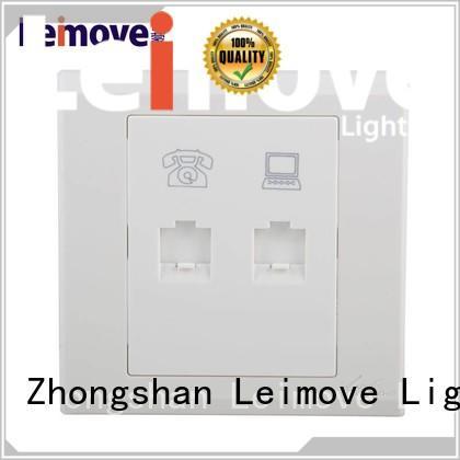 Leimove multi-functional screwless white sockets wholesale for telephone